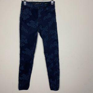 Zara- Blue Flower Slim Fit Pants size 4